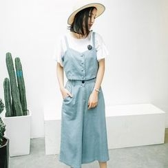 Dimosqisi - Set: Linen Camisole Top+Cropped Wide-Leg Pants