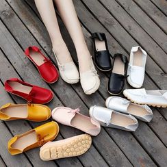 Shoesun - Bow-Tied Stitched Flat Slip-Ons