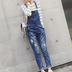 Shimi - 仿旧牛仔背带裤