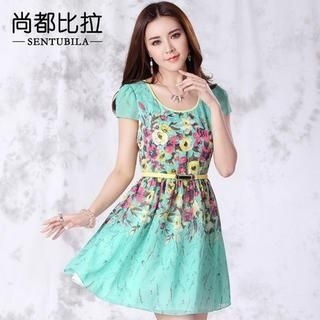 Sentubila - Cap-Sleeve Floral Print A-Line Dress