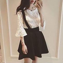 Rocho - Set : 3/4-Sleeve Lace Top + Jumper Skirt