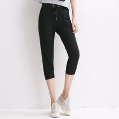 Lina - Drawstring Waist Capri Sweatpants