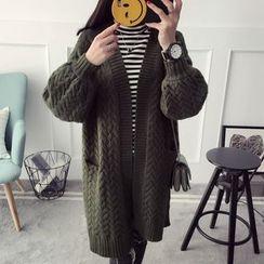Qimi - Cable Knit Long Cardigan