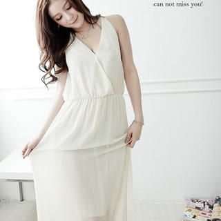 D.P-Shop - Open-Back V-Neck Chiffon Long Tank Dress