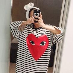 DISCOSALON - Heart Print Striped T-Shirt Dress