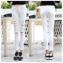 Denimot - Distressed Cropped Skinny Jeans