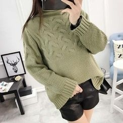 YAMI - Cable-Knit High Neck Sweater