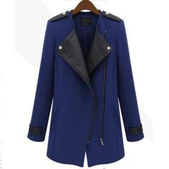 Eloqueen - Faux-Leather Panel Diagonal-Zip Coat