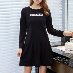 Q.C.T - Letter Pleated Long-Sleeve Dress