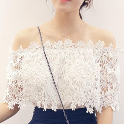 Parc - Lace Panel Chiffon Off-Shoulder Top