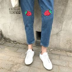Anlay - Strawberry Embroidered High-Waist Loose-Fit Denim Cropped Harem Pants