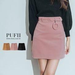 PUFII - 腰帶墜飾絨質高腰短裙