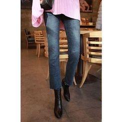Momnuri - Maternity Washed Semi Boot-Cut Jeans