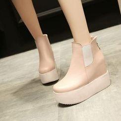 Pastel Pairs - Gusset Platform Ankle Boots