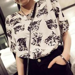 Adima - 短袖貓咪印花 T 恤