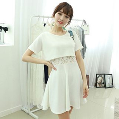 Dodostyle - Lace-Panel Mock Two-Piece A-Line Dress
