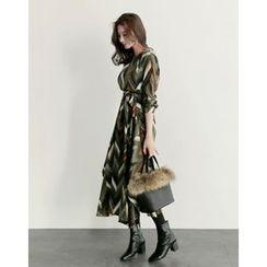 UPTOWNHOLIC - Round-Neck Pattern Long Dress With Sash
