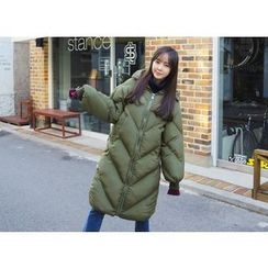 Envy Look - Hooded Zip-Up Long Padded Coat