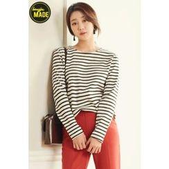 BONGJA SHOP - Stripe Round-Neck T-Shirt