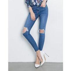 GUMZZI - Cutout-Knee Washed Skinny Jeans