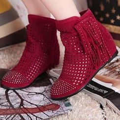 Sidewalk - Studded Perforated Flat Ankle Boot