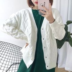 Glen Glam - Cable Knit Cardigan