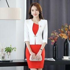 Princess Min - 套裝: 中袖一粒扣小西裝+短袖連衣裙