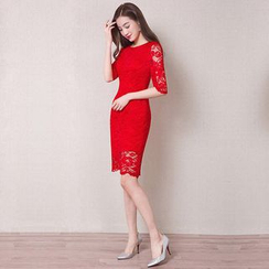 Royal Style - Elbow-Sleeve Sheath Lace Cocktail Dress