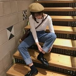 Windflower - Cuffed Wide-Leg Jeans