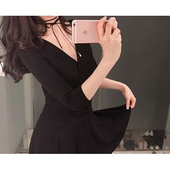 Marlangrouge - 3/4-Sleeve Shirred A-Line Mini Dress
