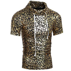 Hansel - Metallic Leopard Print Short Sleeve Top