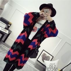 Pecora - Chevron Patterned Long Cardigan