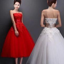 Bridal Workshop - Strapless Lace Appliqué Midi Prom Dress
