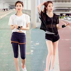 REALLION - 套装: 运动文胸 + 短袖网纱T恤 + 运动短裤