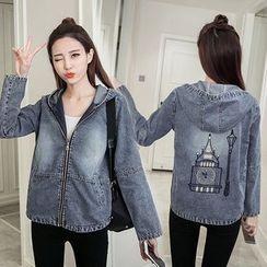 Sienne - Embroidered Back Hooded Denim Jacket