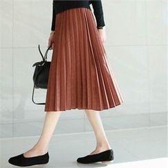 YOOM - Band-Waist Pleated A-Line Midi Skirt