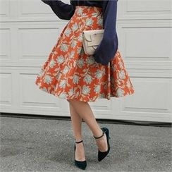 LIPHOP - Floral Patterned A-Line Skirt