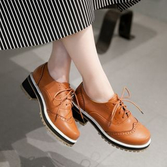 JY Shoes - Block Heel Lace-Up Oxfords