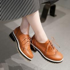 錦洋鞋業 - 粗跟繫帶牛津鞋