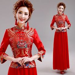Angel Bridal - 3/4-Sleeve Wedding Cheongsam