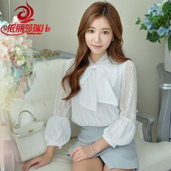 Elisa Rachel - Set: Bow Accent 3/4 Sleeve Chiffon Blouse + Plain Skort
