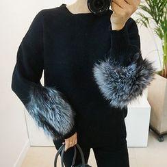 STYLEBYYAM - Faux Fur Trim-Sleeve Knit Top