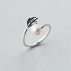 A'ROCH - 925 Sterling SilverFreshwater Pearl Leaf Open Ring