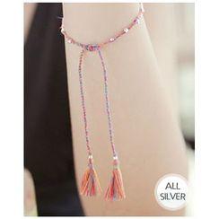 Miss21 Korea - Silver Ball Braided Thread Bracelet