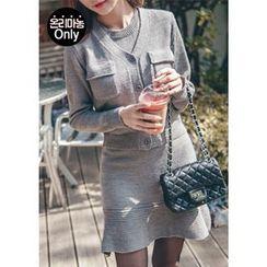 Chlo.D.Manon - Set: Fla-Pocket Cardigan + Sleeveless Knit Dress