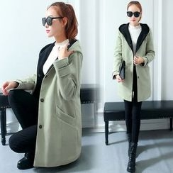 Shinbell - Hooded Buttoned Coat