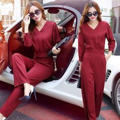 Romantica - Set: Long-Sleeve Top + Wide-Leg Pants