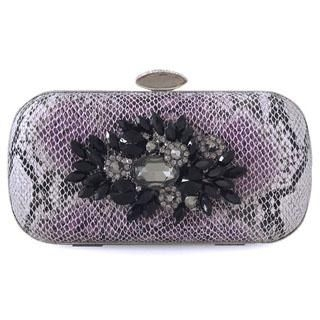 Moonbeam - Jeweled Python-Print Clutch