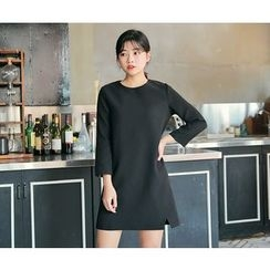 HOTPING - 3/4-Sleeve Slit-Side Dress
