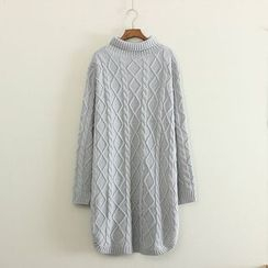 Mushi - Mock-Neck Cable Knit Long Sweater